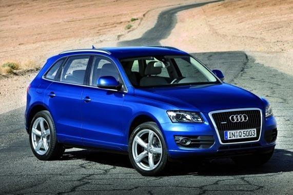 Синий Audi Q5 2012 вид сбоку