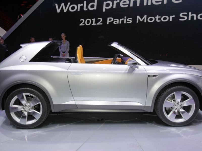 Серебристый Audi Crossline Coupe вид сбоку