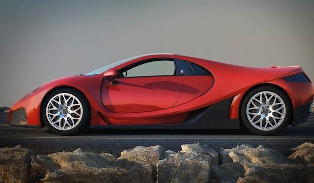 Красный GTA Spano 2013 вид сбоку