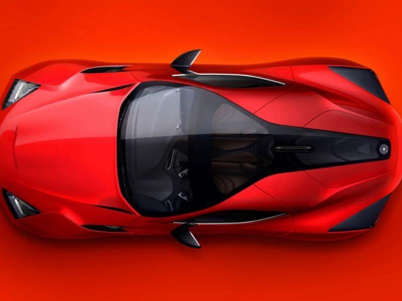 Красный концепт Icona Vulcano 2013, вид сверху