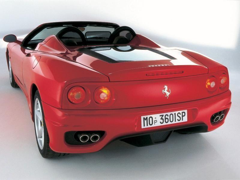 Красный Ferrari 360 Modena Spider, вид сзади