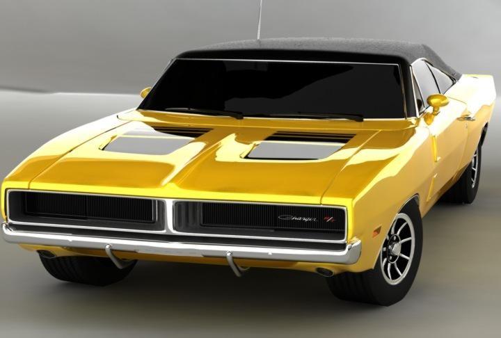 Желтый купе Dodge Charger RT, вид спереди