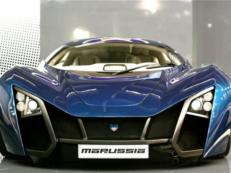 Синий купе Marussia B2 вид спереди