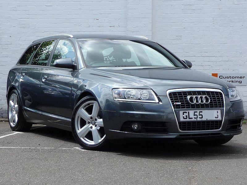 Серебристый Audi A6 Avant вид спереди