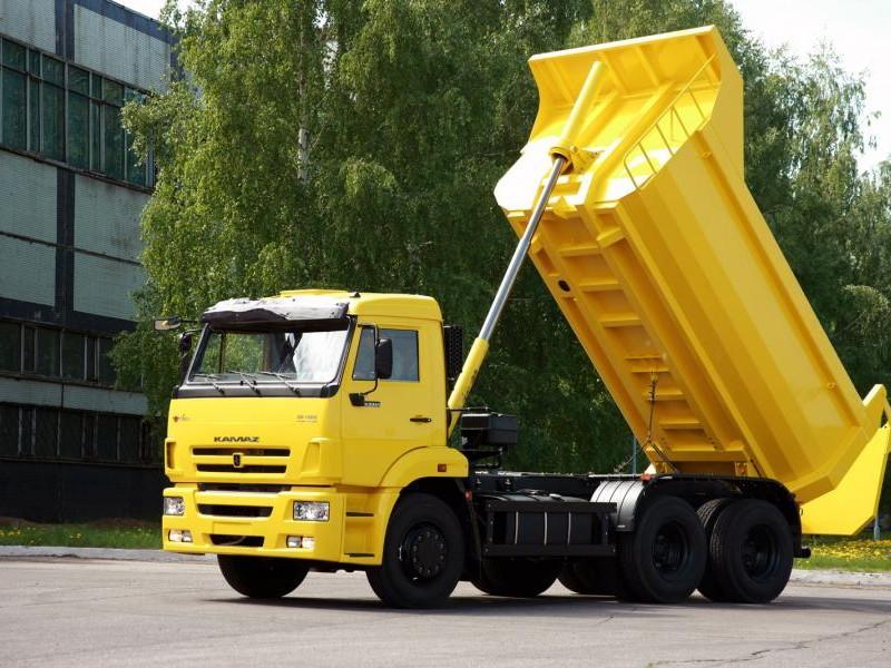 Желтый самосвал КАМАЗ 65115 вид сбоку