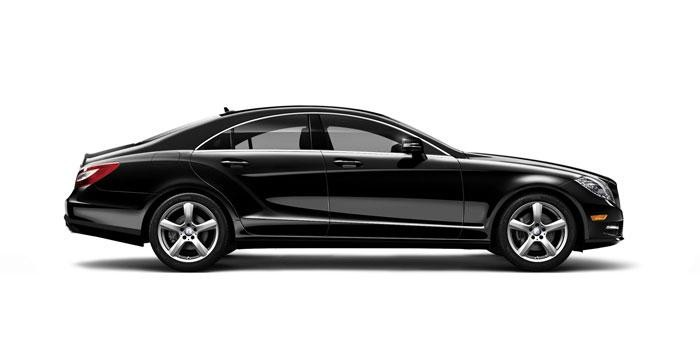 Черный Mercedes CLS-CLass Coupe 2014 вид сбоку