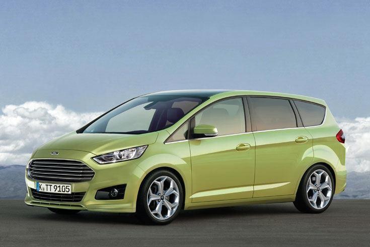 Зеленый Ford S-Max концепт 2014 вид сбоку