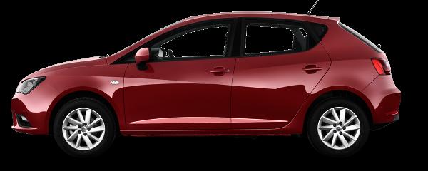 Красный хэтчбек Seat Ibiza 2014 види сбоку