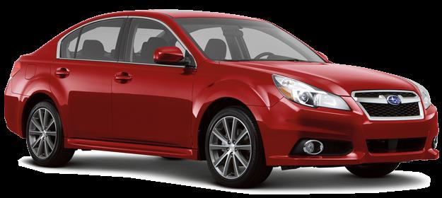 Красный седан Subaru Legacy 2014