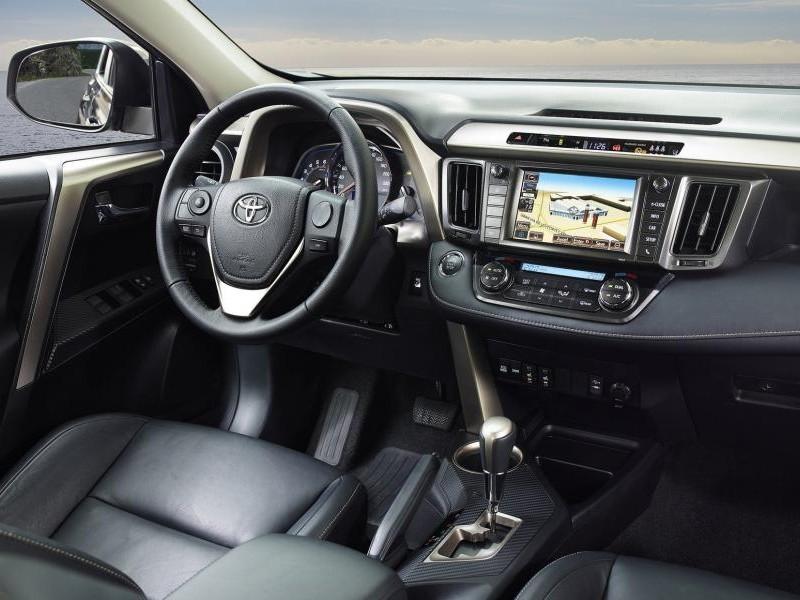 Черный салон, руль, консоль Toyota RAV4 2014