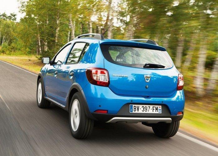 Синий хэтчбек Dacia Sandero вид сзади