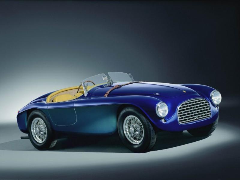 Синий Ferrari 166 MM вид сбоку
