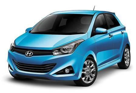 Синий хэтчбек Hyundai HB20 вид спереди