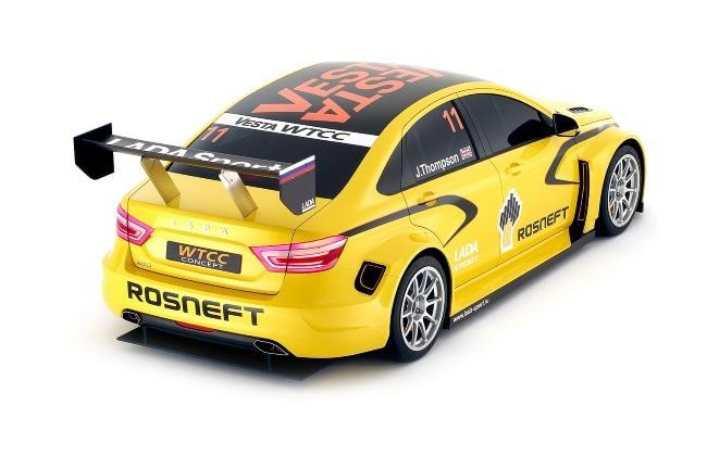 Желтый Lada Vesta WTCC