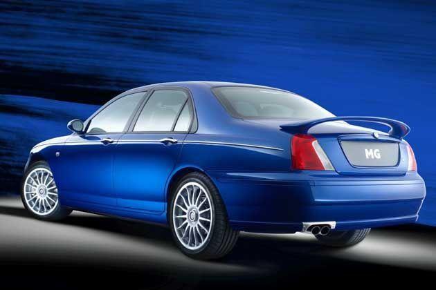 Синий седан MG X10 вид сбоку