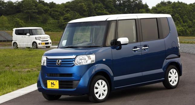 Синий Honda N-Box Splash вид сбоку