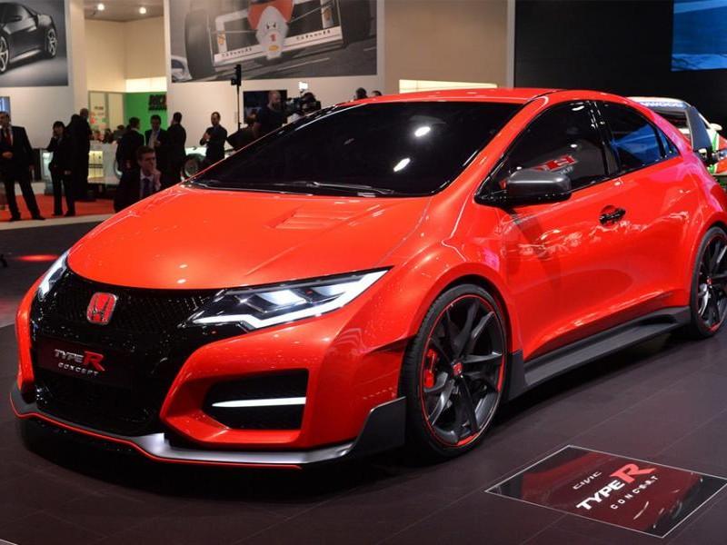 Красный хэтчбек Honda Civic Type R 2015