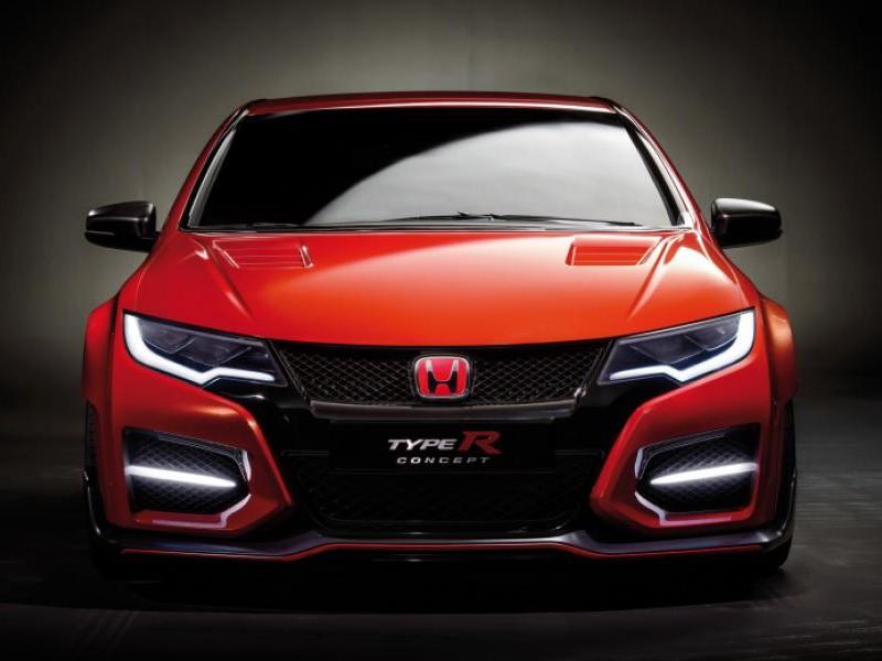 Красный Honda Civic Type R 2015 вид спереди