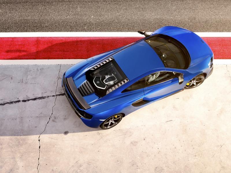 Синий McLaren 650S Coupe вид сверху