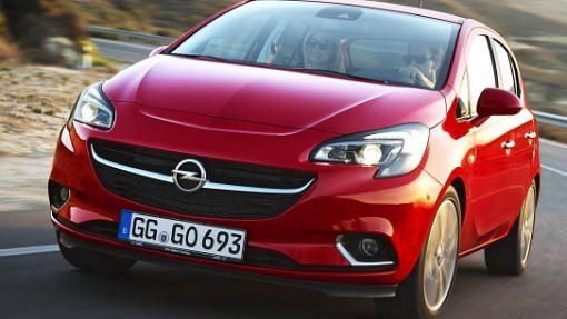 Красный Opel Corsa Van 2015 вид спереди