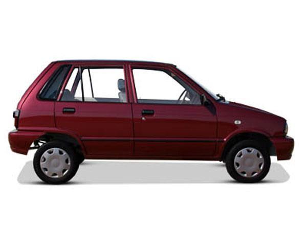 Бордовый хэтчбек Suzuki Mehran вид сбоку