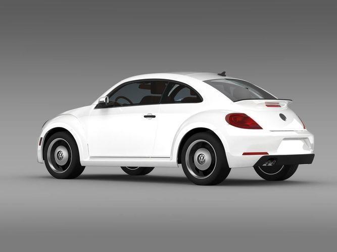 Белый хэтчбек Volkswagen Beetle 2015 вид сбоку