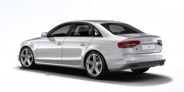 Белый Audi S4 2015 вид сбоку