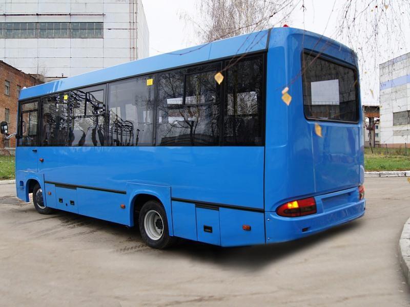 Синий автобус BAW 2245 Street Line вид сбоку