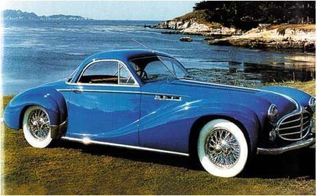 Синий Delahaye 235MS Coupe 1953 вид сбоку