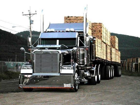 Черный Freightliner FLD вид спереди