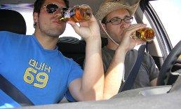 распитие алкоголя в машине