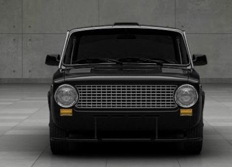 Черный ВАЗ 2101 на сером фоне