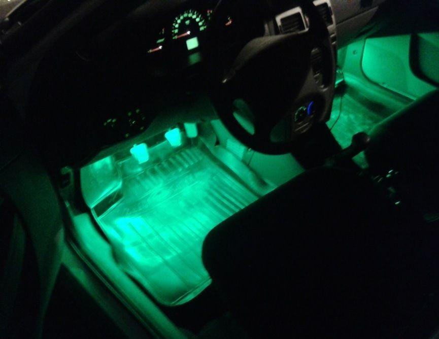 Зеленая подсветка у ног водителя лады приоры