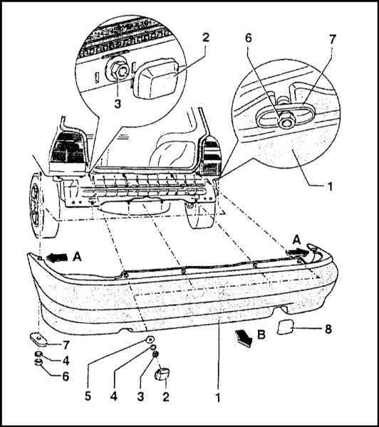 Схема заднего бампера октавия