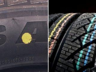 Для чего на шинах присутствуют разноцветные метки